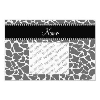 Personalized name grey giraffe pattern photo print