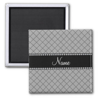 Personalized name grey grid pattern refrigerator magnets