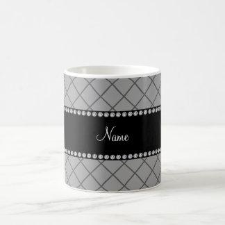 Personalized name grey grid pattern mugs