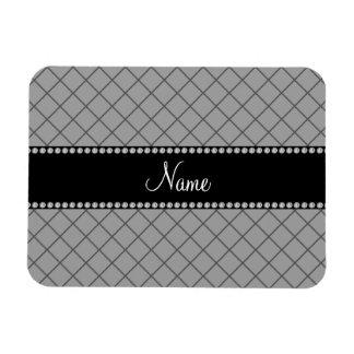 Personalized name grey grid pattern rectangular magnet