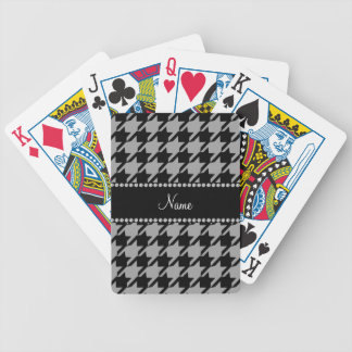 Personalized name grey houndstooth bicycle playing cards