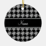 Personalized name grey houndstooth ornament