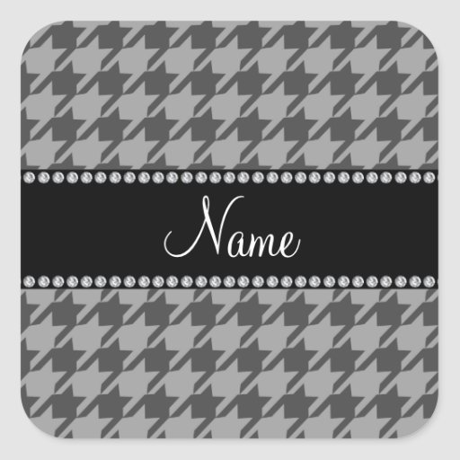 Personalized name grey houndstooth pattern square sticker