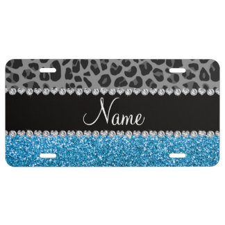 Personalized name grey leopard sky blue glitter license plate