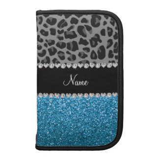 Personalized name grey leopard sky blue glitter organizer