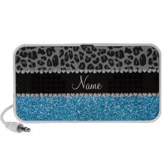 Personalized name grey leopard sky blue glitter travelling speaker
