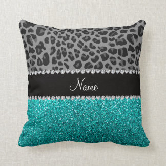Personalized name grey leopard turquoise glitter pillow