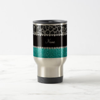 Personalized name grey leopard turquoise glitter travel mug