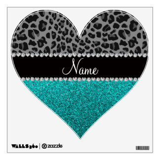 Personalized name grey leopard turquoise glitter wall sticker