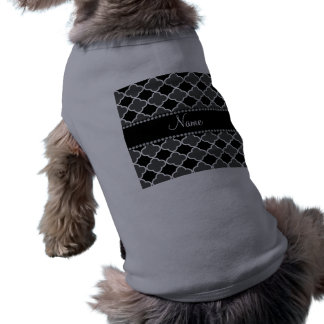 Personalized name grey quatrefoil pattern pet t shirt