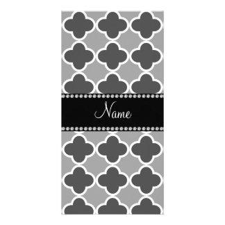 Personalized name grey quatrefoil pattern photo card