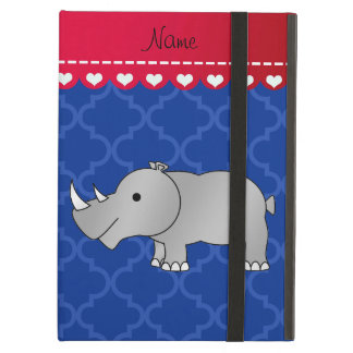 Personalized name grey rhino blue moroccan iPad air case