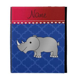 Personalized name grey rhino blue moroccan iPad folio case