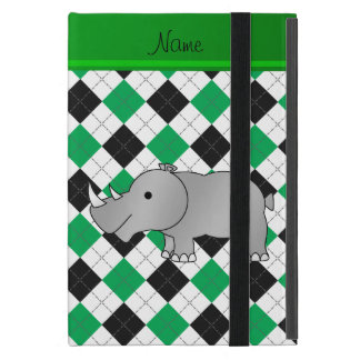 Personalized name grey rhino green black argyle iPad mini covers