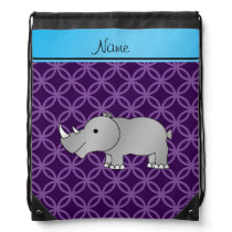 Personalized name grey rhino purple circles drawstring bag