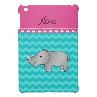 Personalized name grey rhino turquoise chevrons cover for the iPad mini