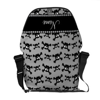 Personalized name grey skulls pattern courier bag