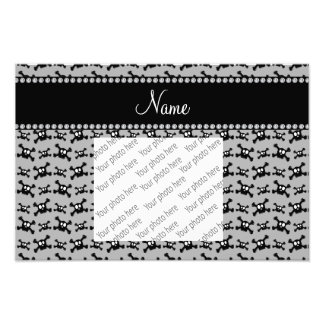Personalized name grey skulls pattern photo print