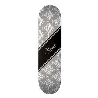 Personalized name grey white damask skateboard