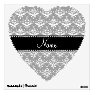 Personalized name grey white damask wall graphics