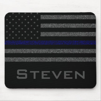 Personalized Name Grunge Thin Blue Line Flag Mouse Pad