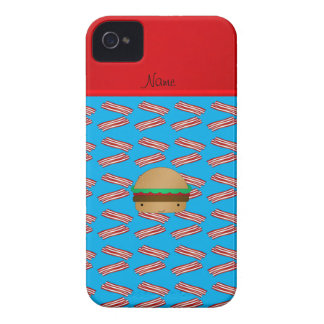 Personalized name hamburger blue bacon pattern Case-Mate iPhone 4 cases
