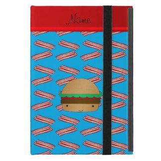Personalized name hamburger blue bacon pattern iPad mini case