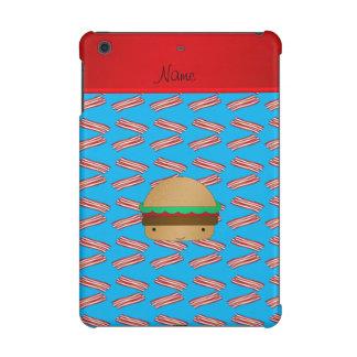 Personalized name hamburger blue bacon pattern iPad mini retina cases