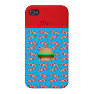 Personalized name hamburger blue bacon pattern cover for iPhone 4