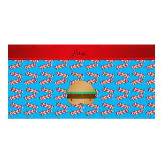 Personalized name hamburger blue bacon pattern customized photo card