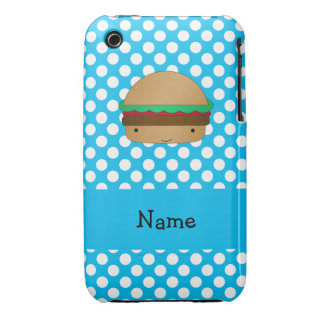 Personalized name hamburger blue white polka dots iPhone 3 Case-Mate cases