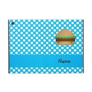 Personalized name hamburger blue white polka dots iPad mini cover