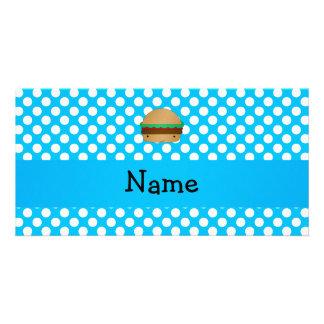 Personalized name hamburger blue white polka dots photo card