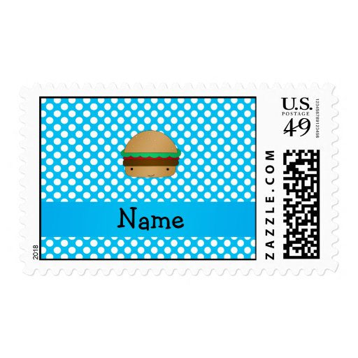 Personalized name hamburger blue white polka dots postage stamp