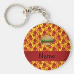 Personalized name hamburger flames basic round button keychain