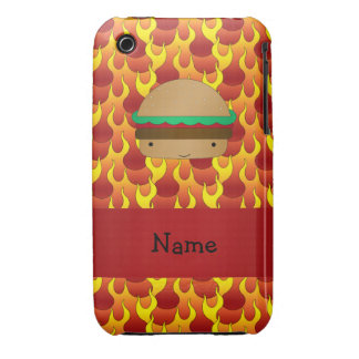 Personalized name hamburger flames iPhone 3 covers