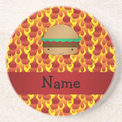Personalized name hamburger flames coasters