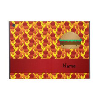 Personalized name hamburger flames iPad mini covers