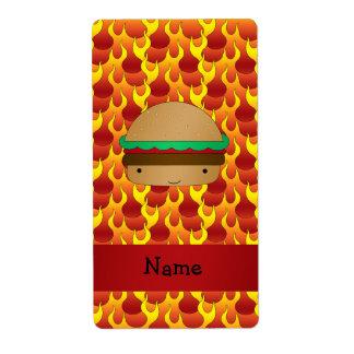 Personalized name hamburger flames custom shipping label