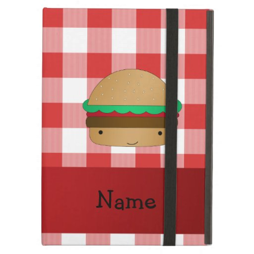 Personalized name hamburger red checkered pattern iPad air case