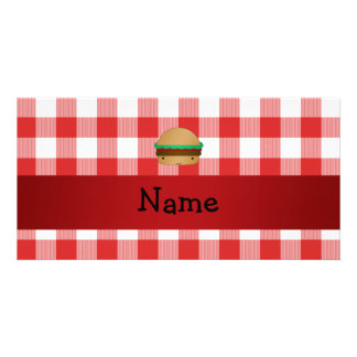 Personalized name hamburger red checkered pattern customized photo card