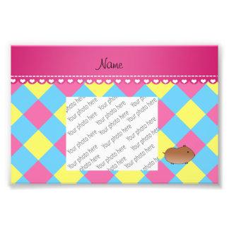 Personalized name hamster blue pink yellow diamond photo print