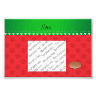 Personalized name hamster red snowflakes photo art