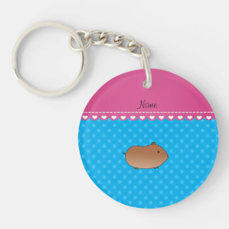 Personalized name hamster sky blue polka dots keychain