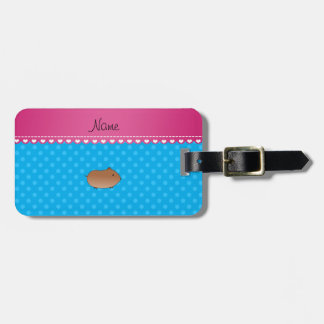 Personalized name hamster sky blue polka dots luggage tag