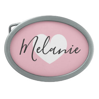 Personalized name heart belt buckle for women