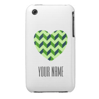 Personalized Name Heart Shaped Chevron Case-Mate iPhone 3 Case