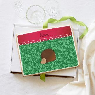 Personalized name hedgehog green flowers jumbo cookie