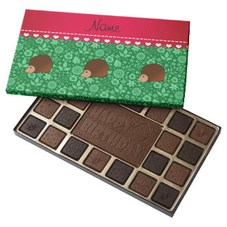 Personalized name hedgehog green flowers 45 piece assorted chocolate box