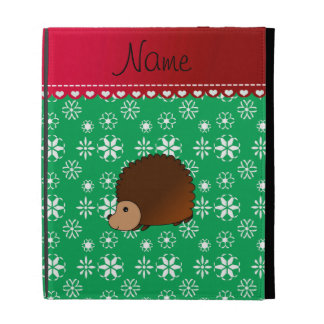 Personalized name hedgehog green snowflakes iPad cases